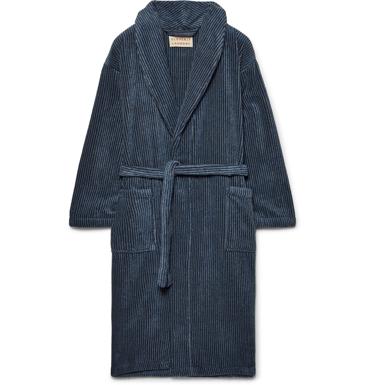 Photo: Cleverly Laundry - Striped Cotton-Terry Robe - Blue
