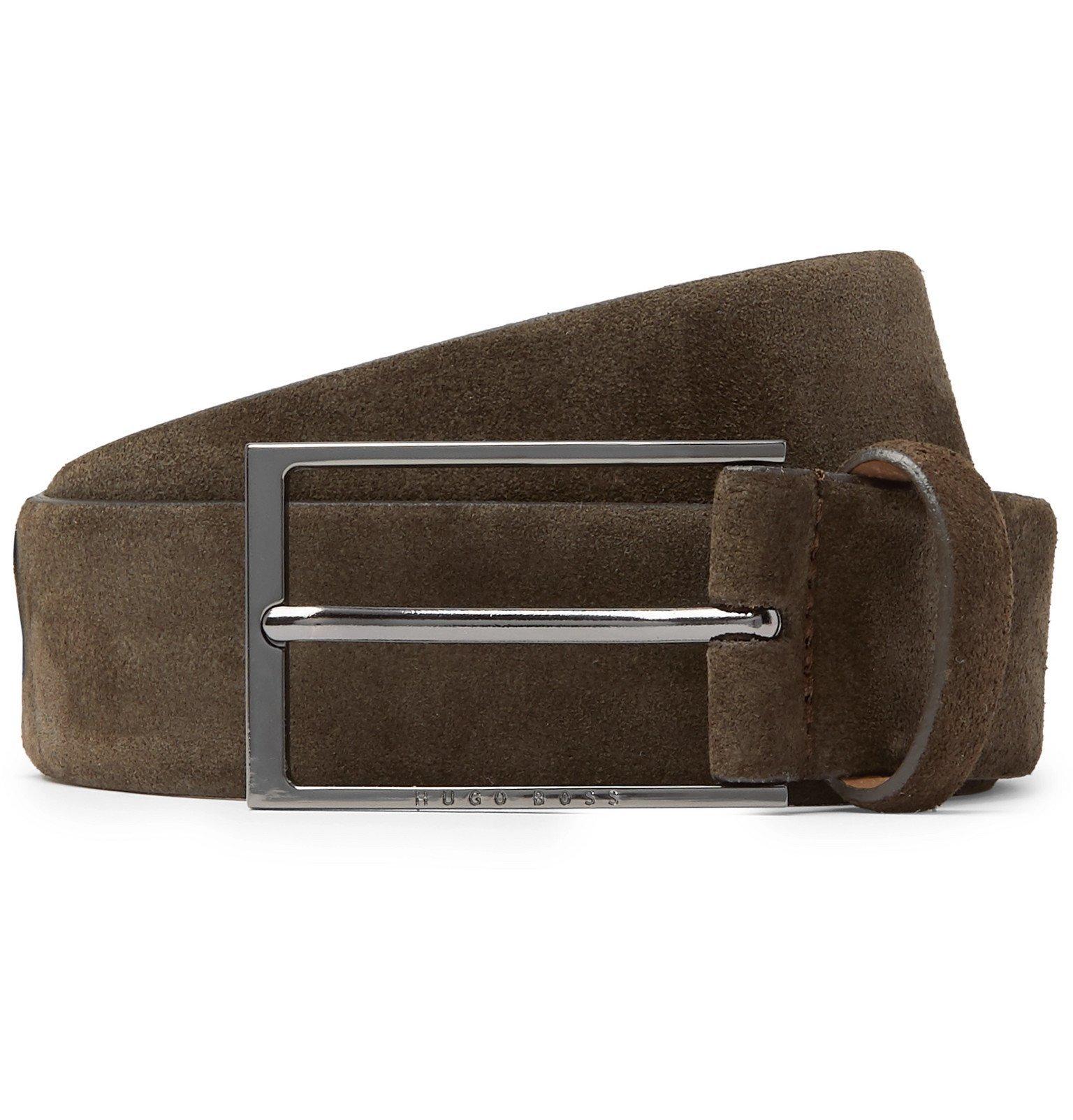 Photo: Hugo Boss - 4cm Calindo Suede Belt - Brown