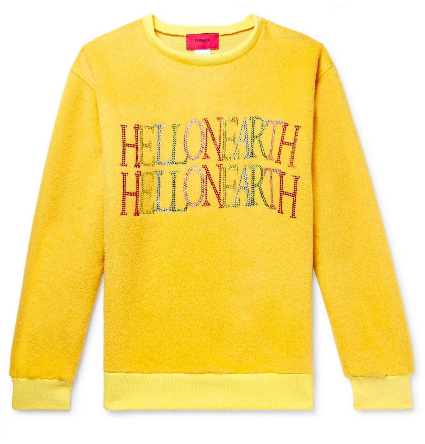 Photo: WHO DECIDES WAR by Ev Bravado - Embellished Cashmere and Mohair-Blend Sweatshirt - Yellow