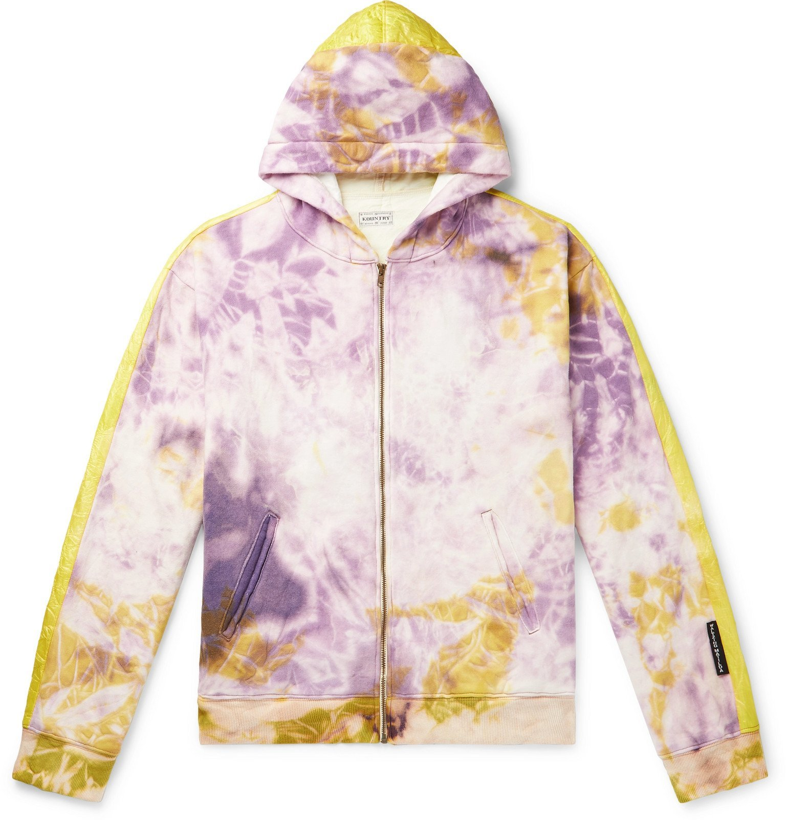 Photo: KAPITAL - Ashbury Shell-Panelled Tie-Dyed Loopback Cotton-Jersey Zip-Up Hoodie - Purple