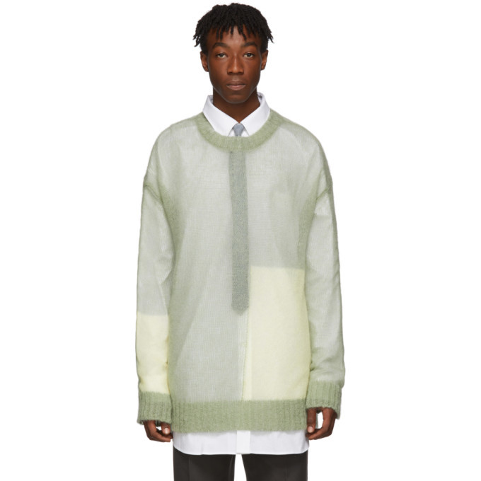 Photo: Jil Sander Green Open Knit Regular Fit Sweater