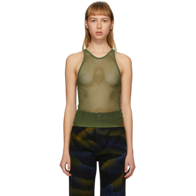 032c Green Mesh Logo Embroidery Tank Top