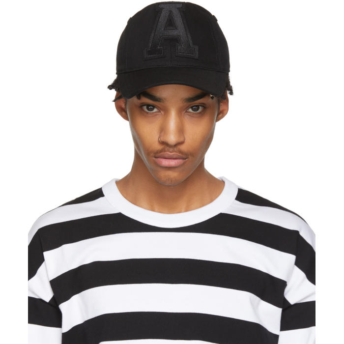 Black and White Stripe Five-Panel Cap Ami nqYE0