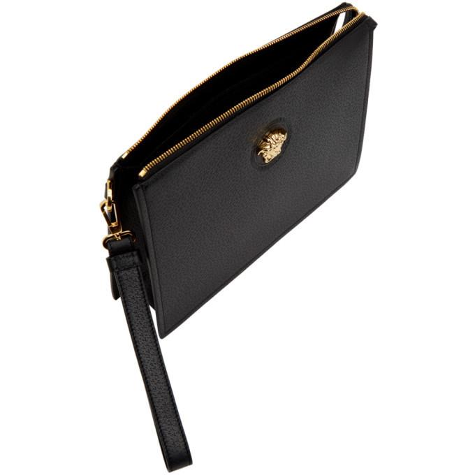 Versace Black Leather Medusa Pouch