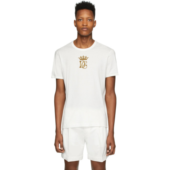 Photo: Dolce and Gabbana White Embroidered Logo T-Shirt