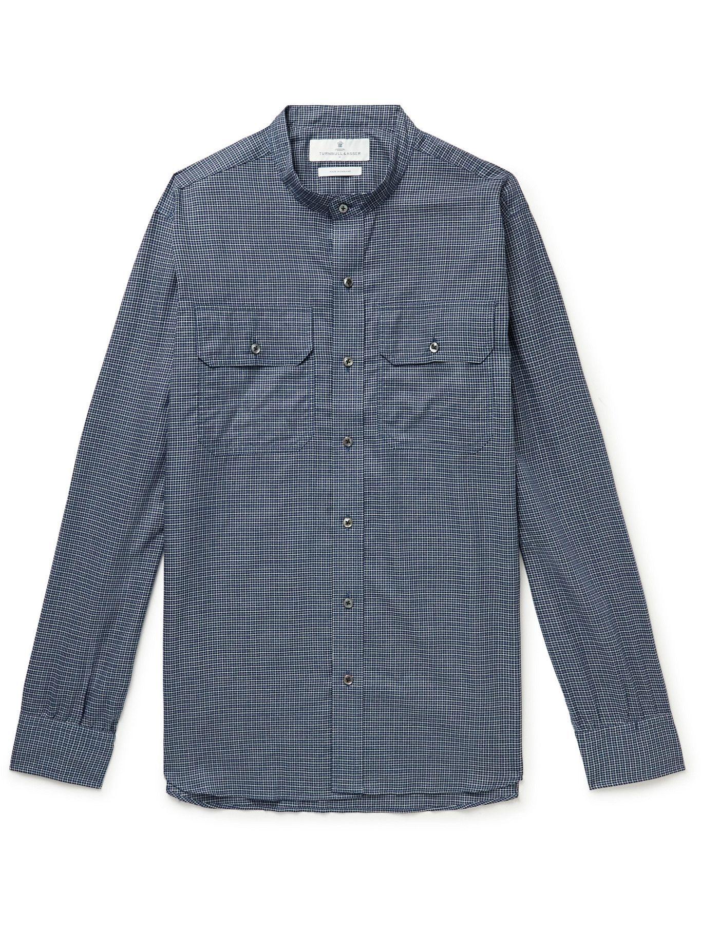 Photo: Turnbull & Asser - Grandad-Collar Checked Cotton-Twill Shirt - Blue