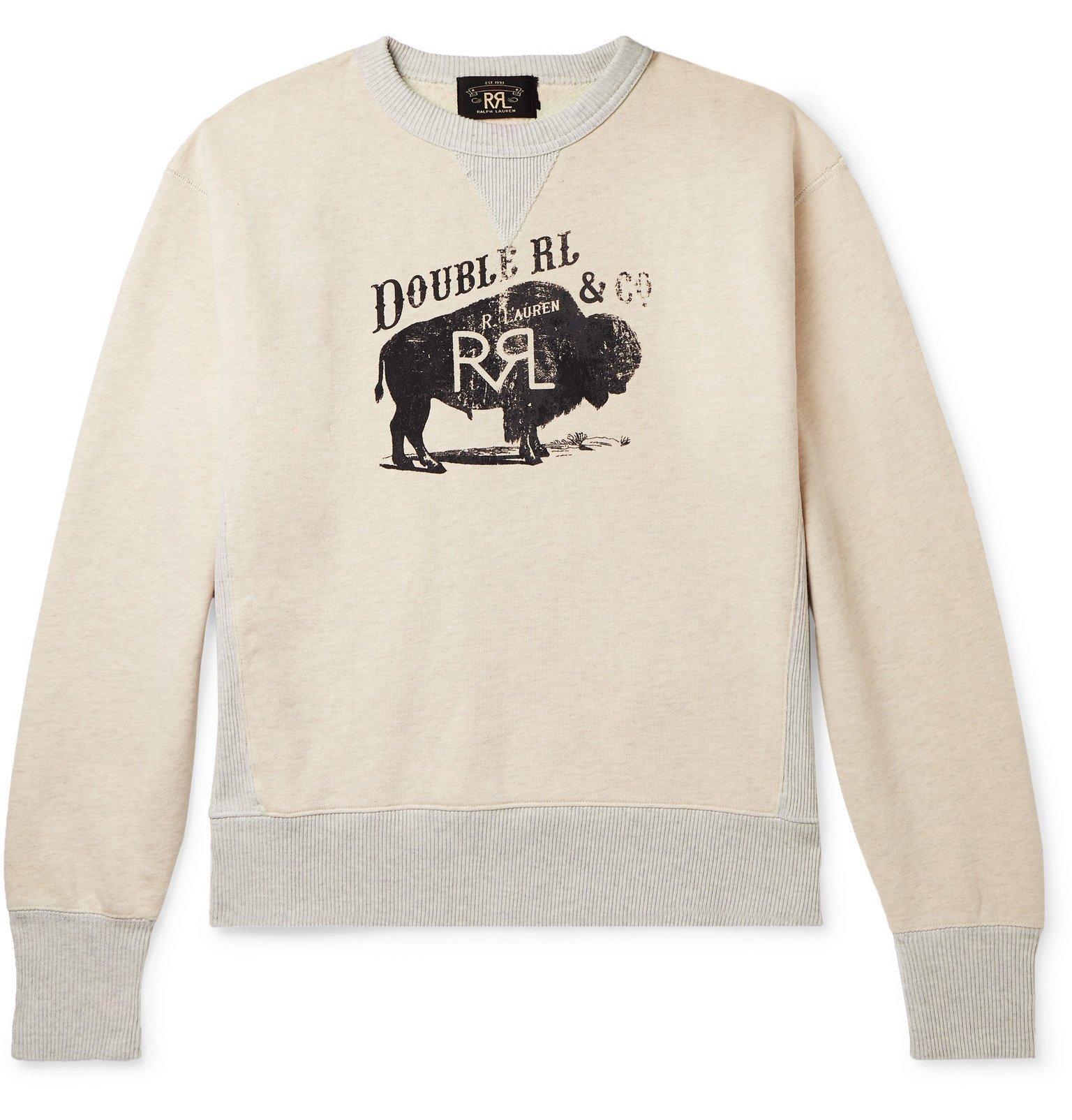 Photo: RRL - Printed Fleece-Back Cotton-Blend Jersey Sweatshirt - Neutrals
