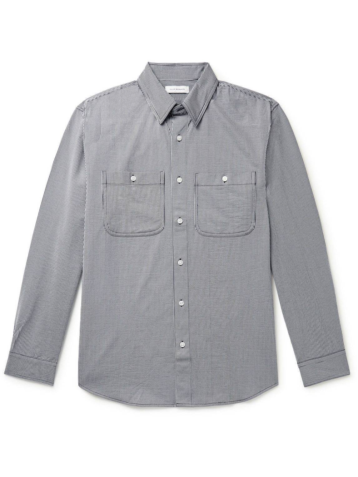 Photo: Club Monaco - Striped Stretch Cotton-Blend Jersey Shirt - Blue