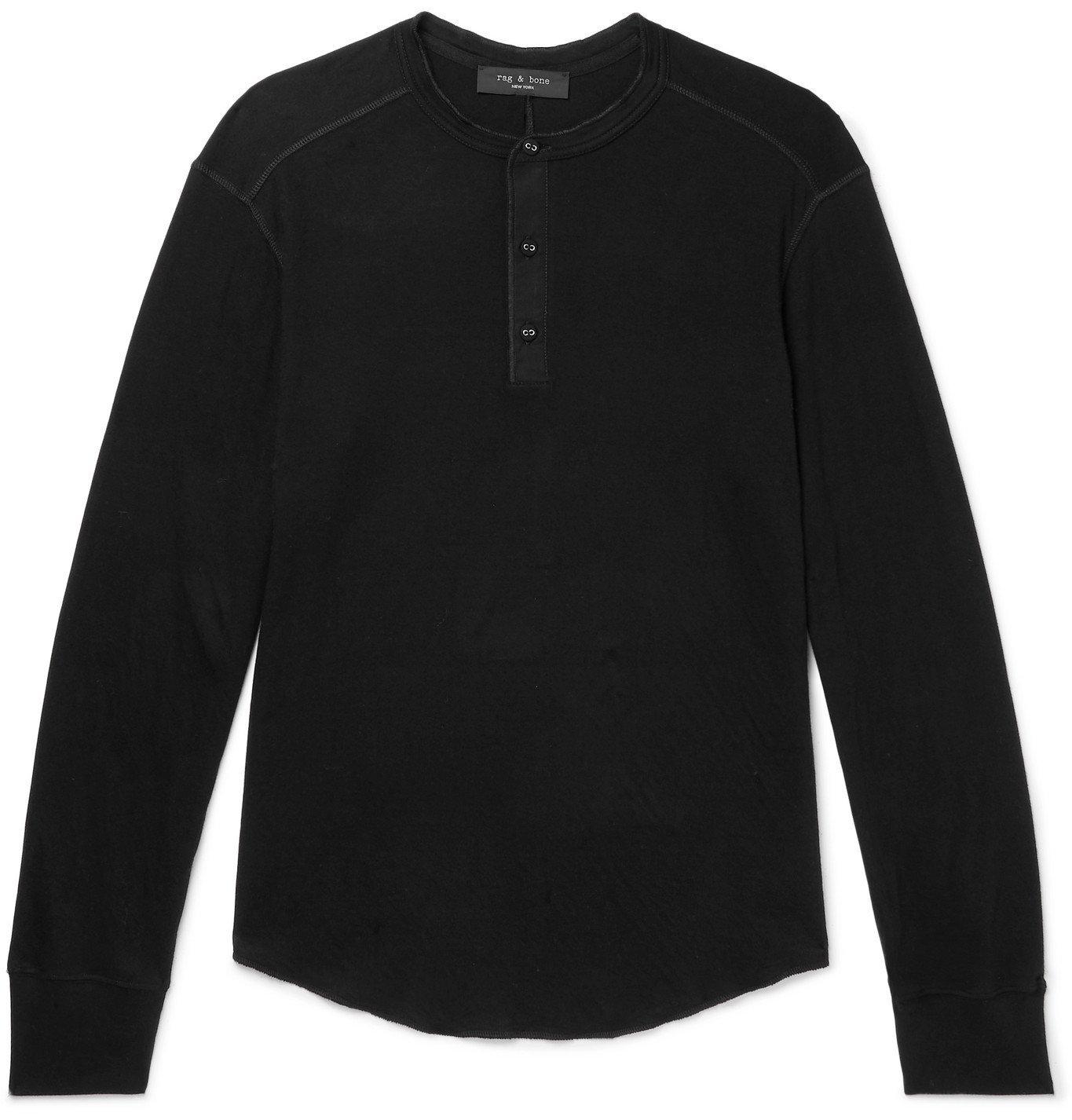 Photo: RAG & BONE - Gibson Cotton-Jersey Henley T-Shirt - Black