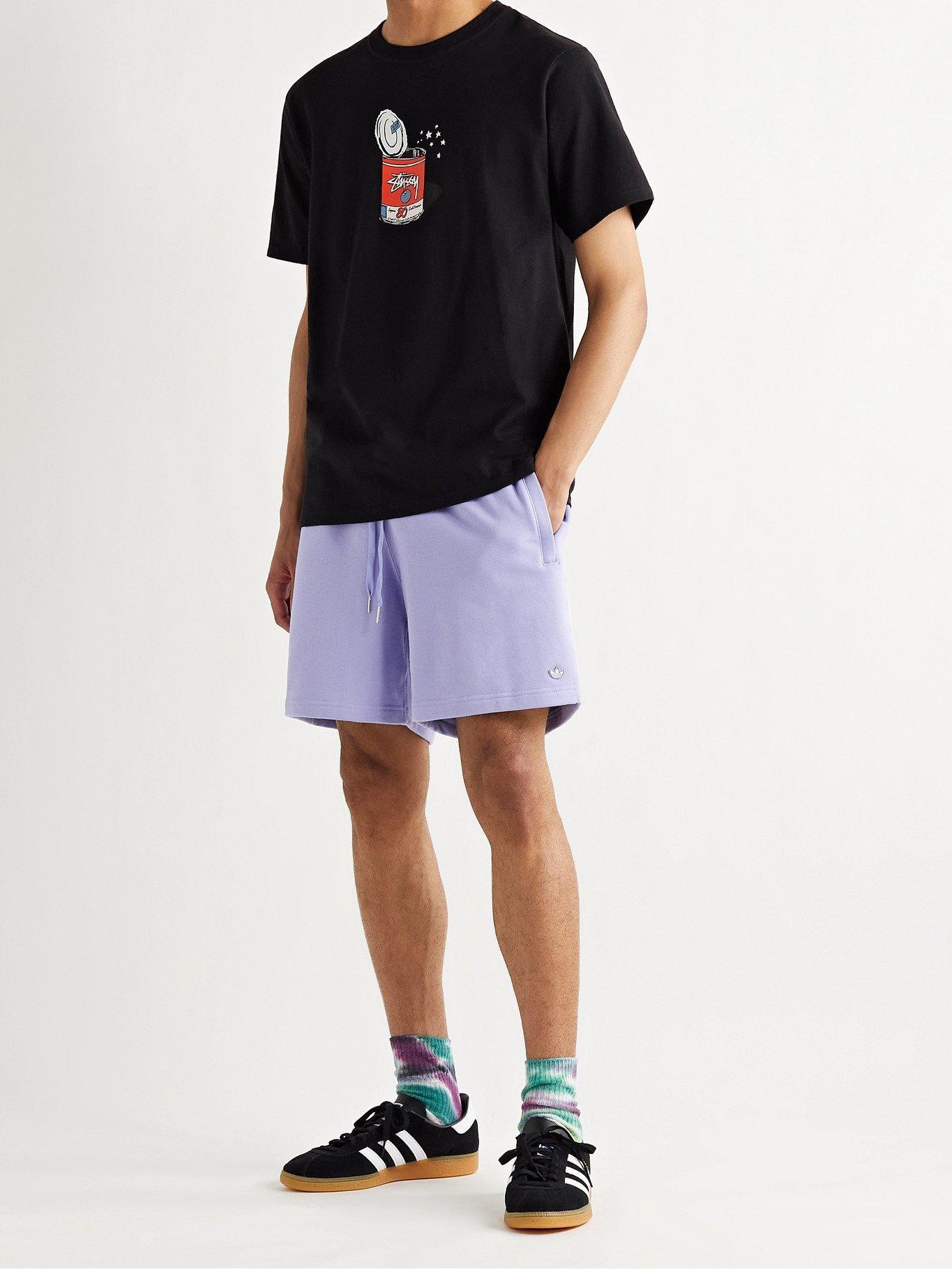 Photo: ADIDAS ORIGINALS - Adicolor Organic Loopback Cotton-Jersey Shorts - Purple