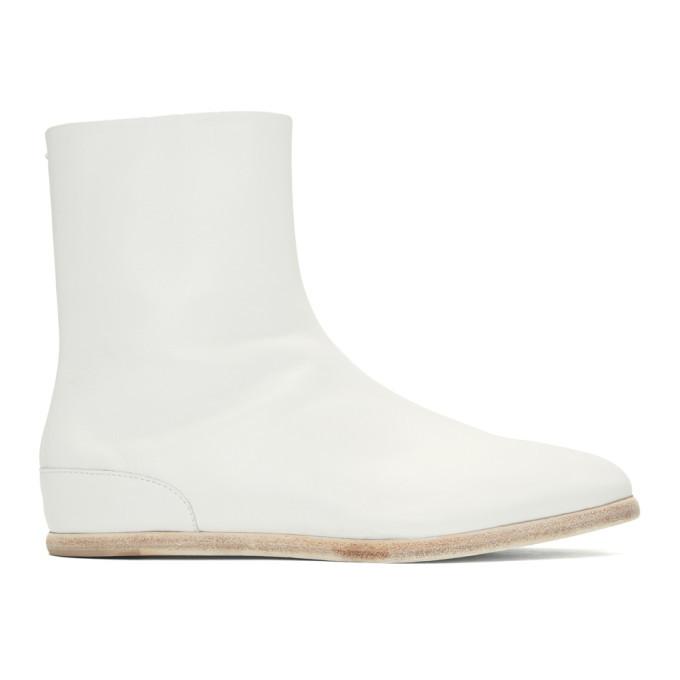 Photo: Maison Margiela White Flat Tabi Boots