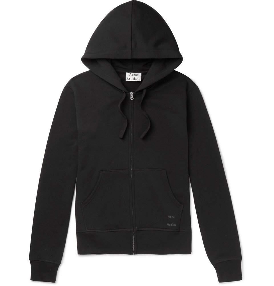 Photo: Acne Studios - Frake Slim-Fit Loopback Cotton-Jersey Zip-Up Hoodie - Black