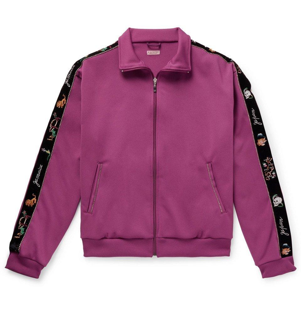 Photo: KAPITAL - Embroidered Velvet-Trimmed Tech-Jersey Track Jacket - Purple