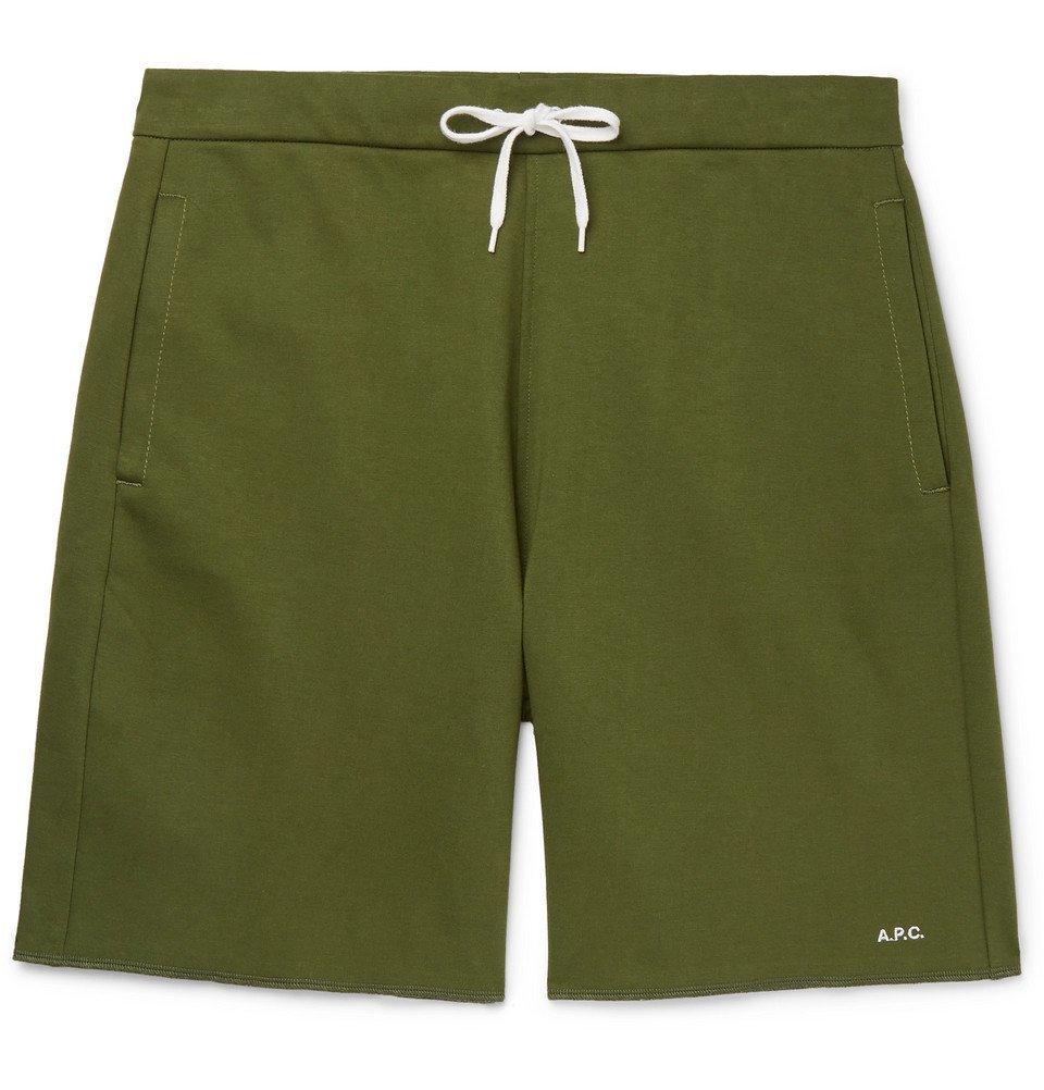 Photo: A.P.C. - Loopback Cotton-Jersey Sweat Shorts - Green