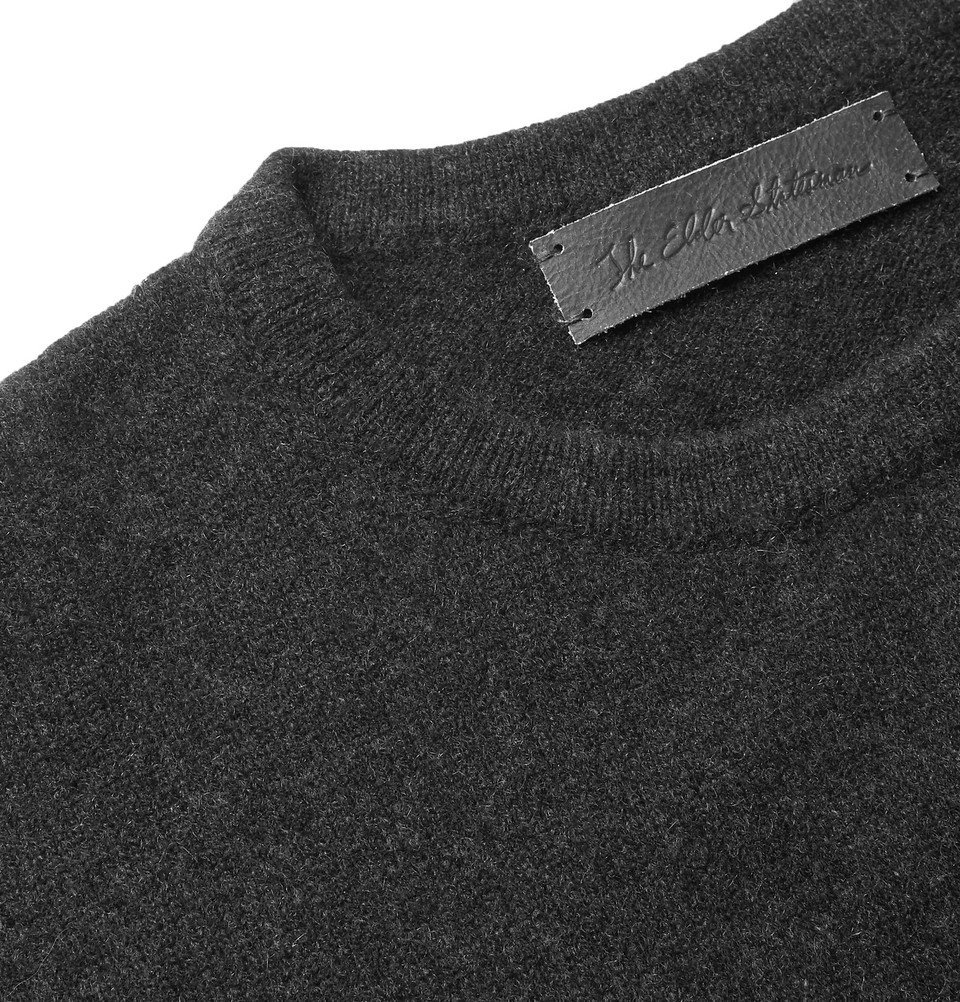 The Elder Statesman - Intarsia Cashmere Sweater - Charcoal