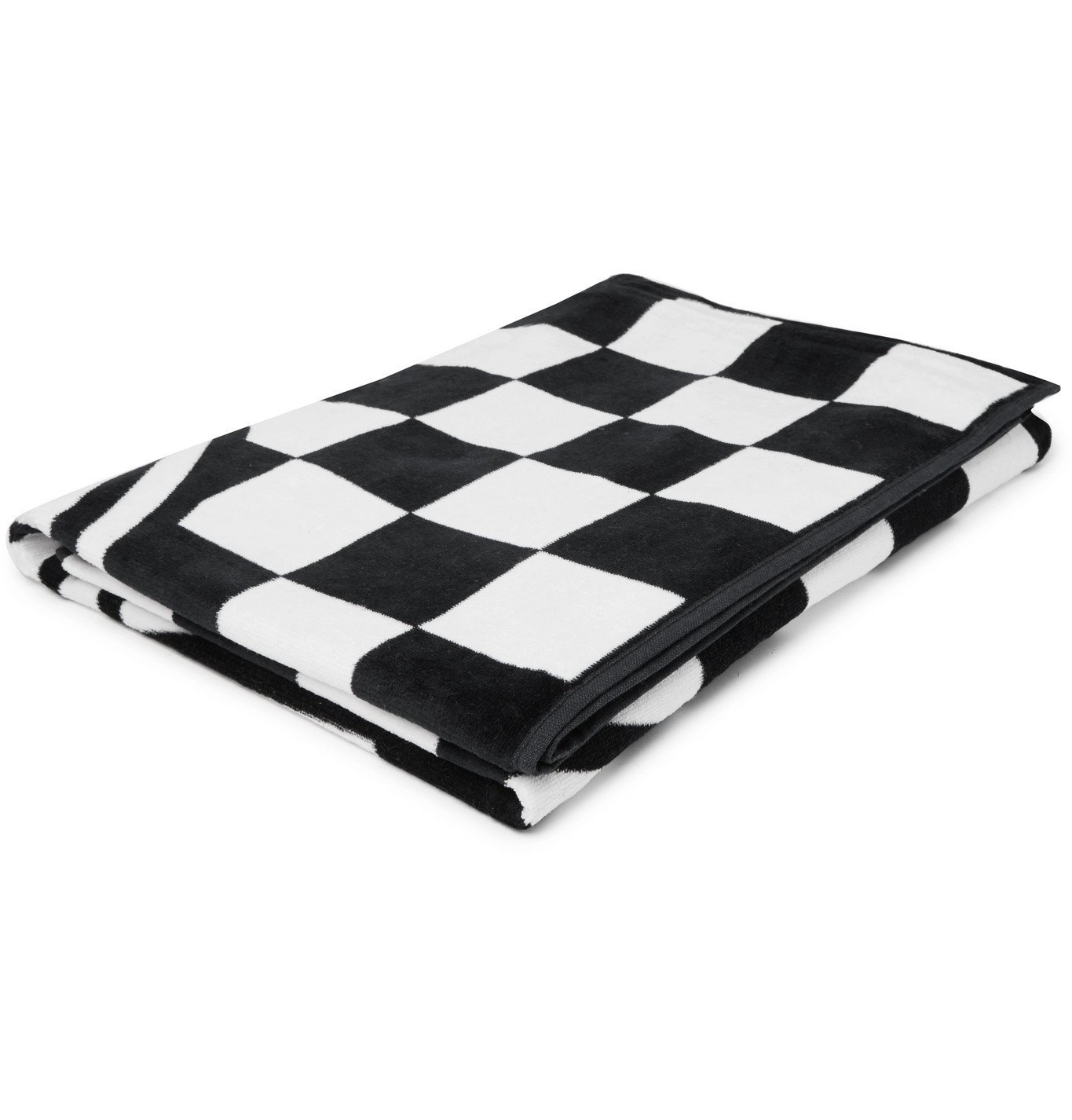 Photo: Vans - Logo-Print Checkerboard Cotton-Terry Beach Towel - Black