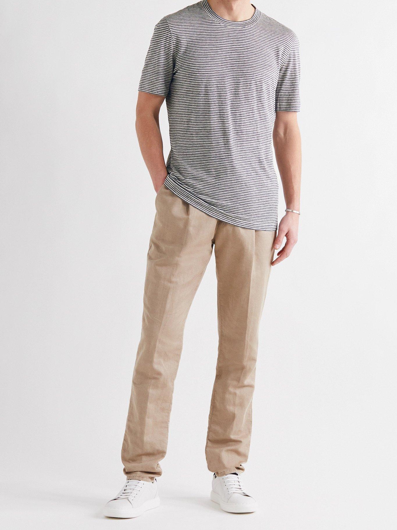 Photo: BRUNELLO CUCINELLI - Striped Stretch-Linen T-Shirt - Blue