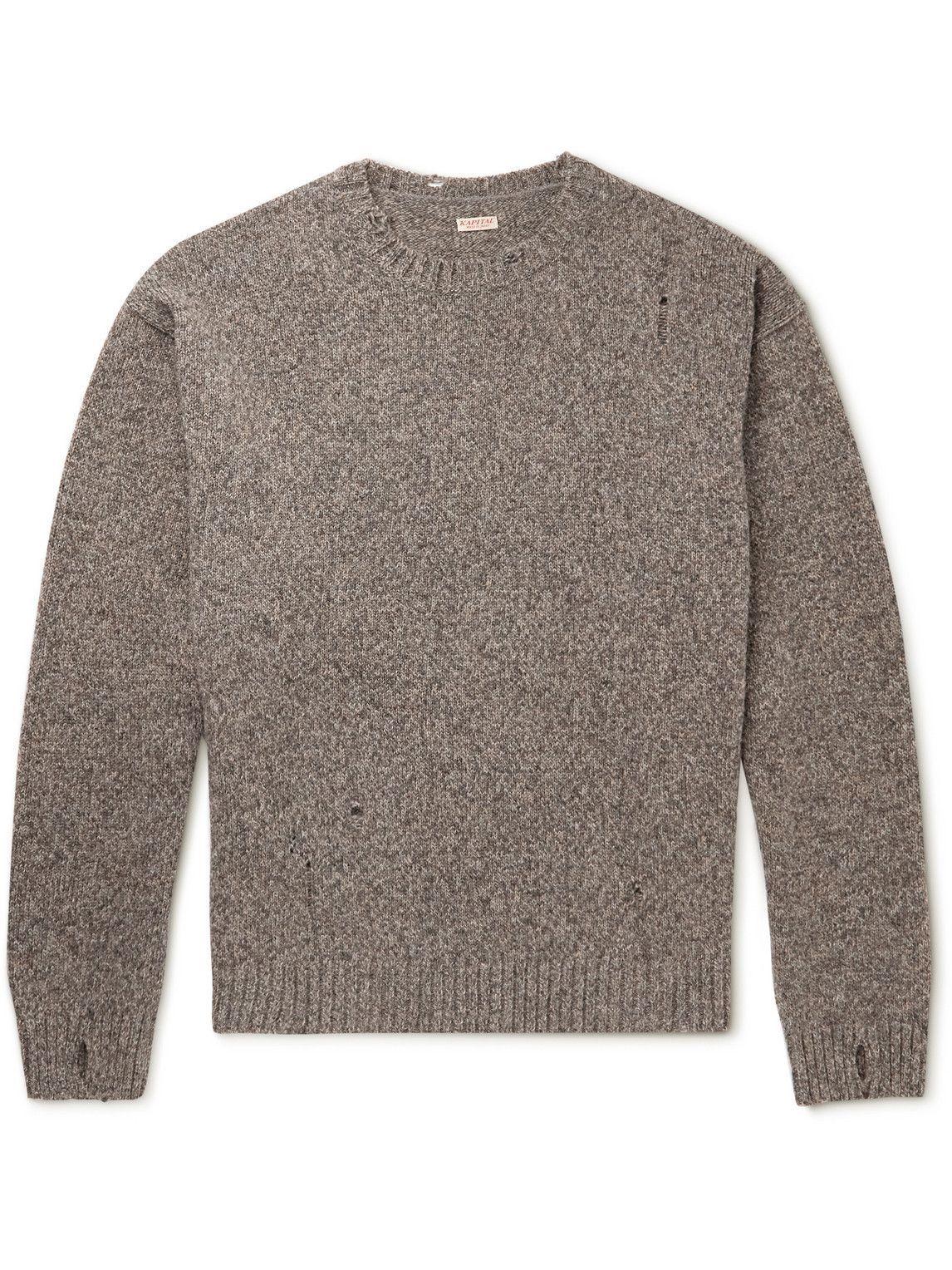 Photo: KAPITAL - Distressed Intarsia Wool Sweater - Gray