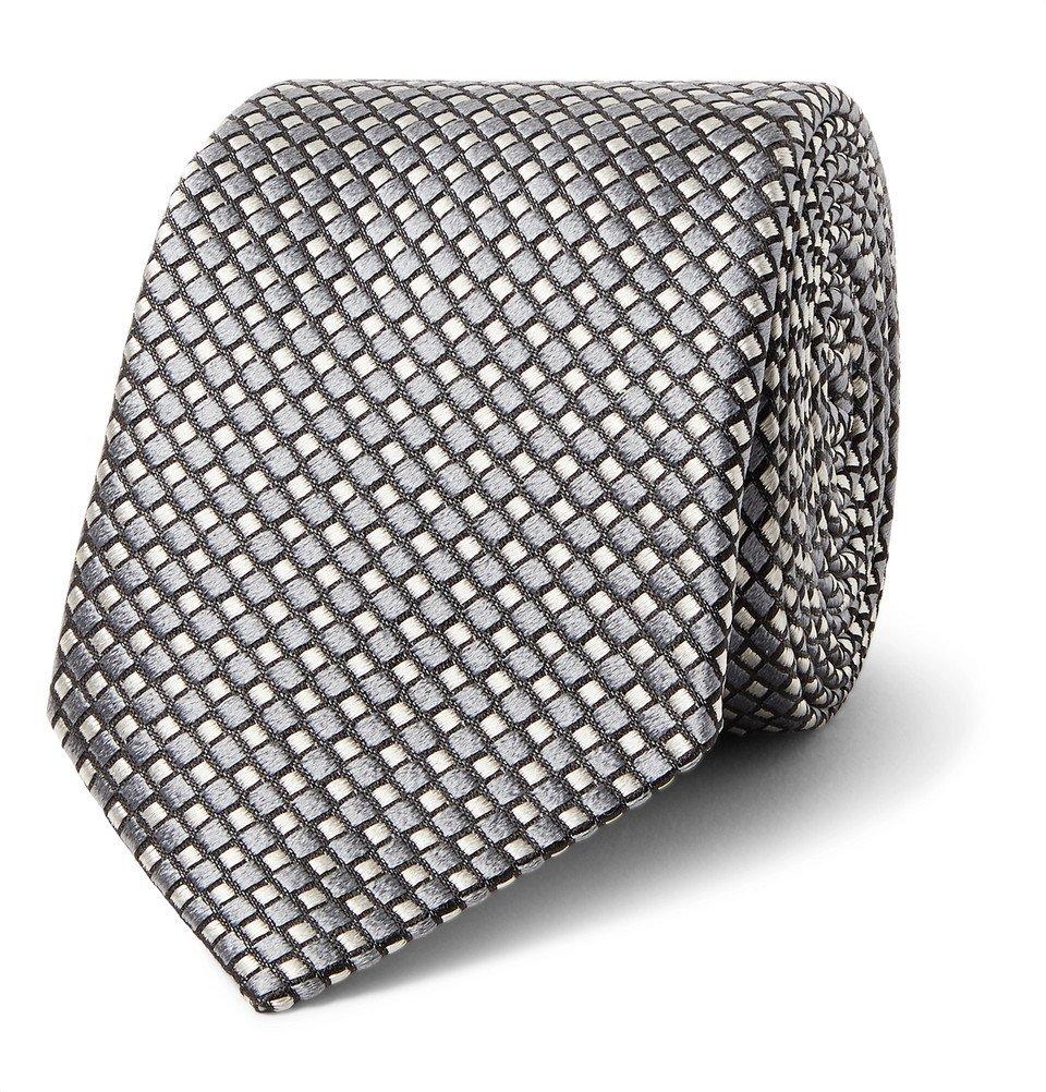 Giorgio Armani - 7cm Silk-Jacquard Tie - Anthracite