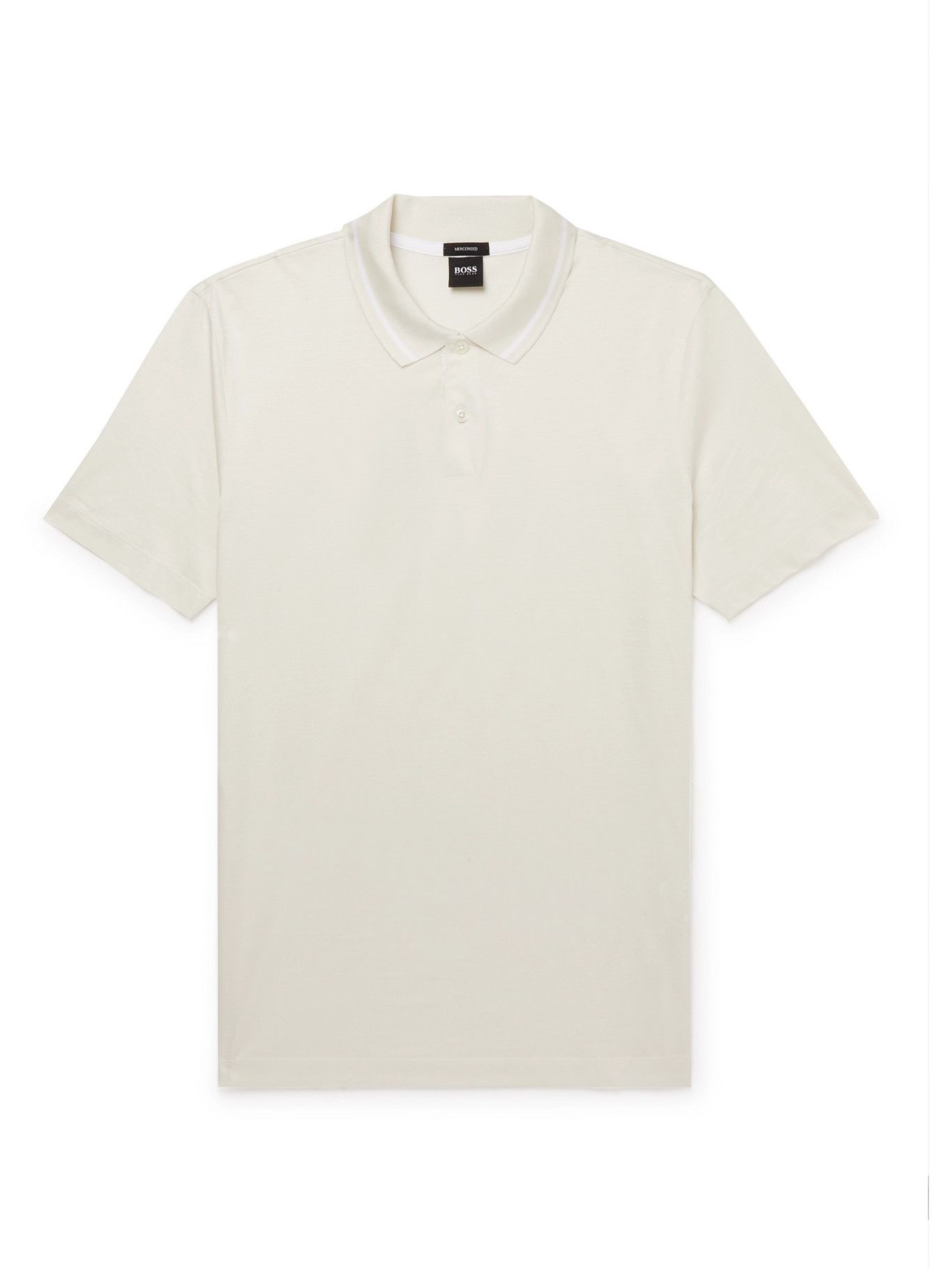 HUGO BOSS - Mercerised Cotton Polo Shirt - Neutrals