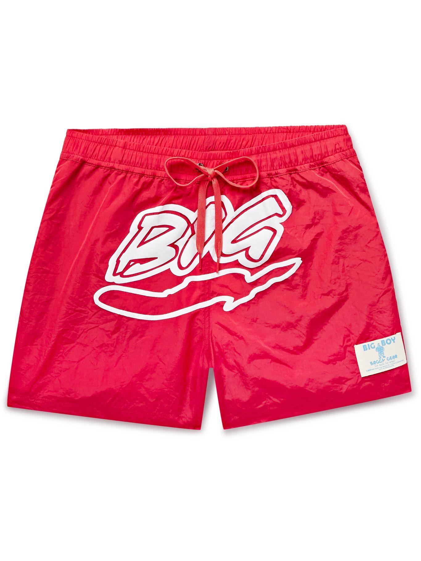 Photo: Y,IWO - Logo-Print Mid-Length Swim Shorts - Red