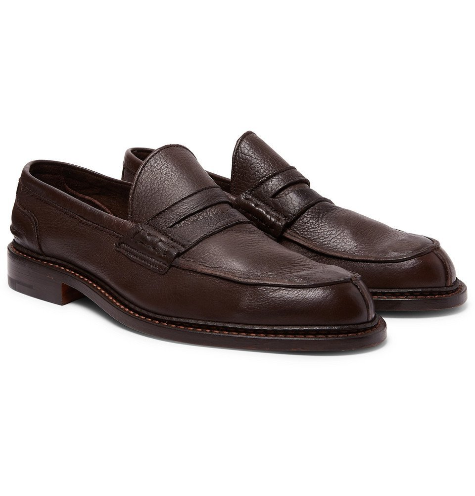 Photo: Tricker's - Adam Pebble-Grain Leather Penny Loafers - Brown