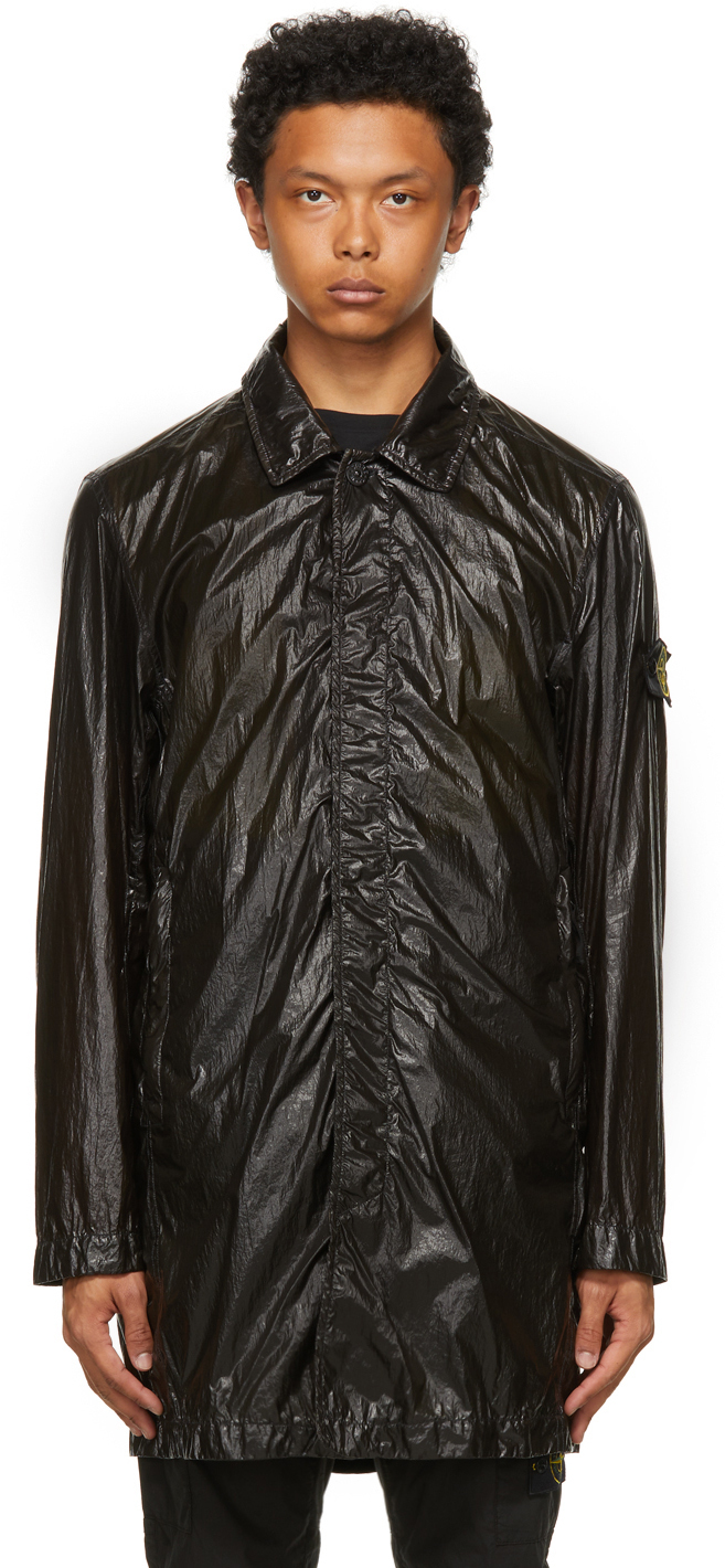 Stone Island Black Packable Lucido-TC Trench Coat