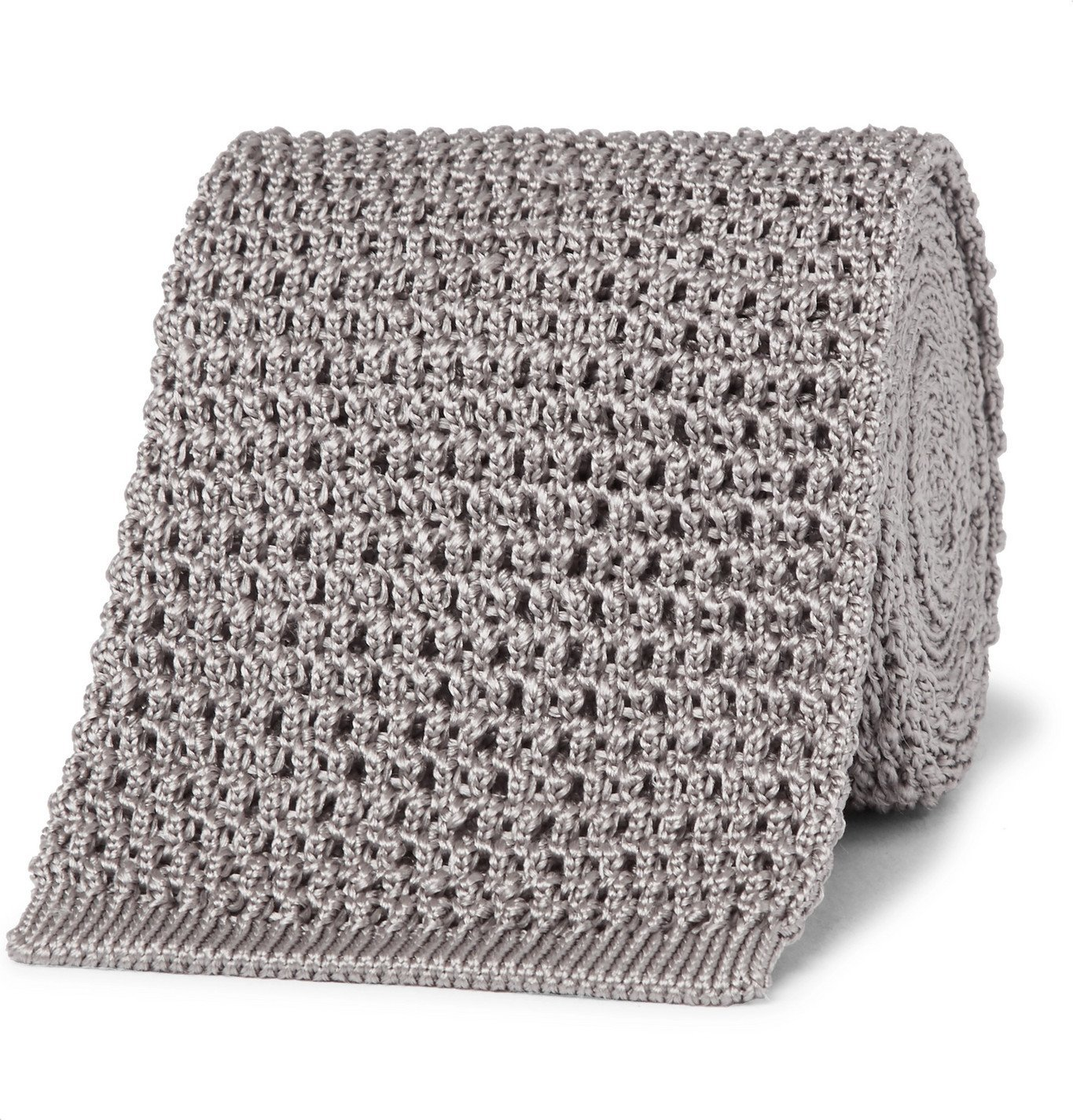 Photo: TOM FORD - 7.5cm Knitted Silk Tie - Gray