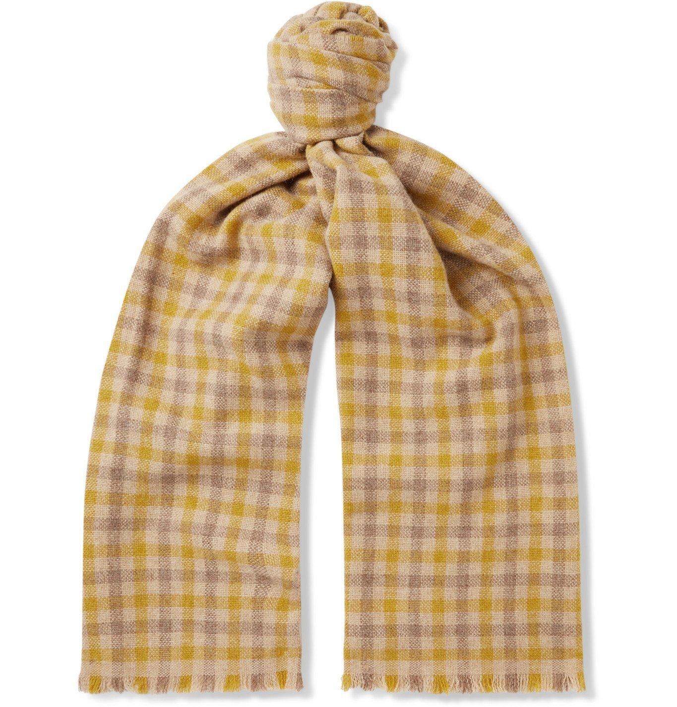 Photo: ACNE STUDIOS - Logo-Appliquéd Checked Wool-Blend Scarf - Neutrals
