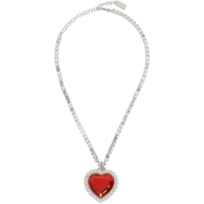 Photo: VETEMENTS Silver and Red Crystal Heart Necklace