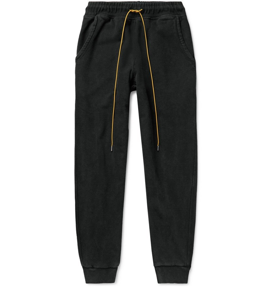 Photo: Rhude - Slim-Fit Tapered Printed Loopback Cotton-Jersey Sweatpants - Black
