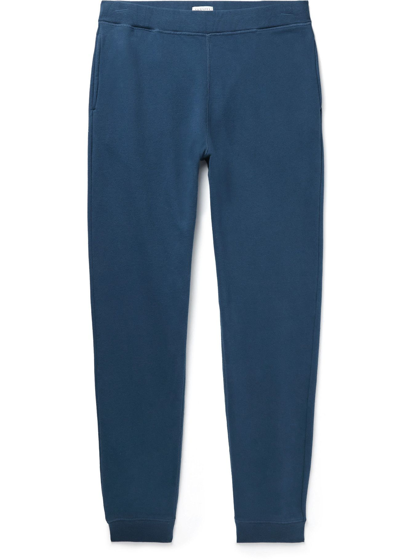 Photo: Sunspel - Tapered Brushed Cotton-Jersey Sweatpants - Blue