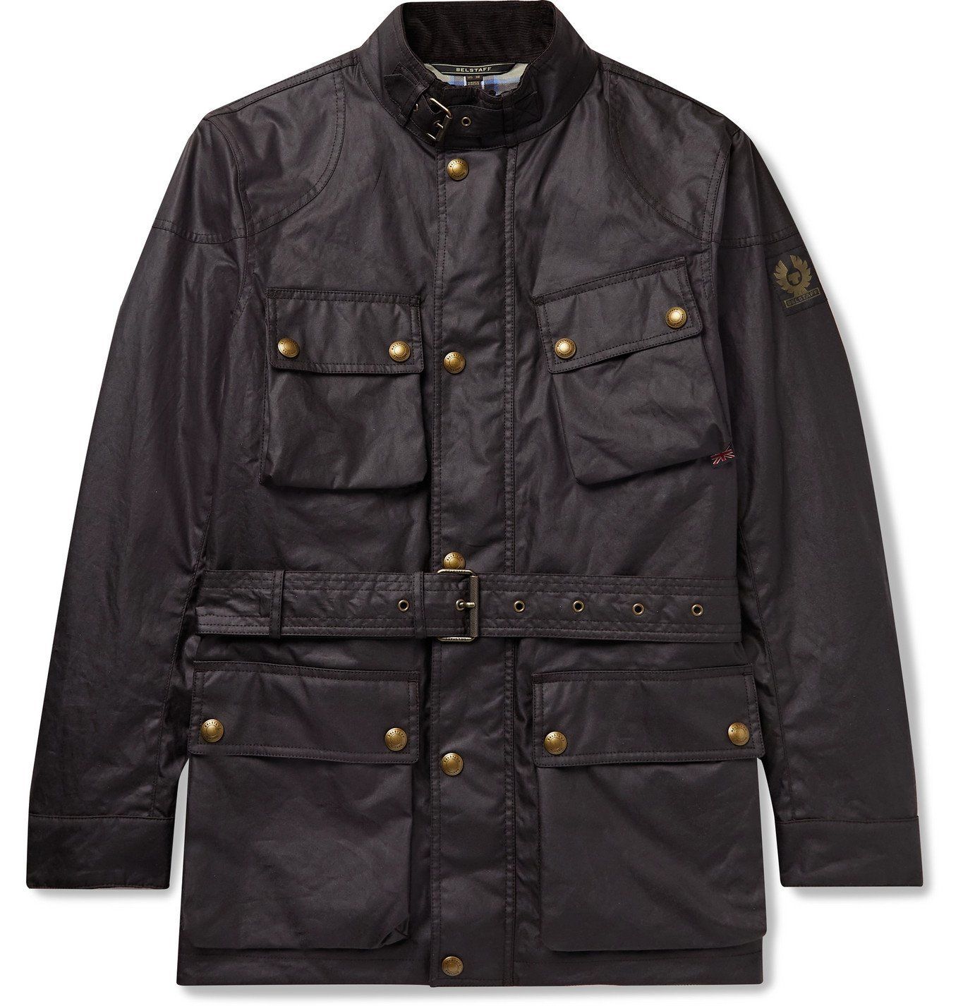 Photo: BELSTAFF - Trialmaster Logo-Appliquéd Belted Waxed-Cotton Jacket - Brown