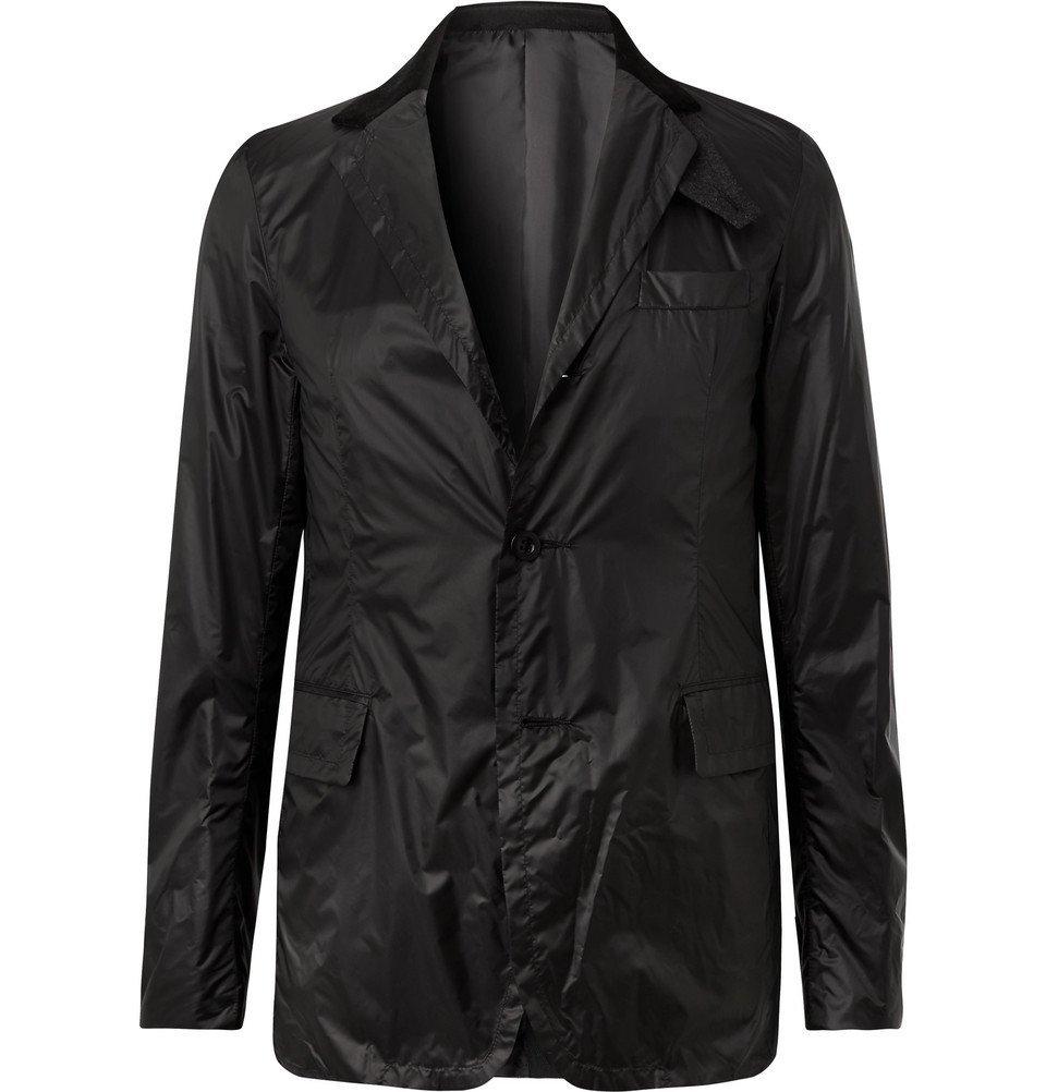 Sacai - Black Slim-Fit Velvet and Wool-Trimmed Nylon Blazer - Black