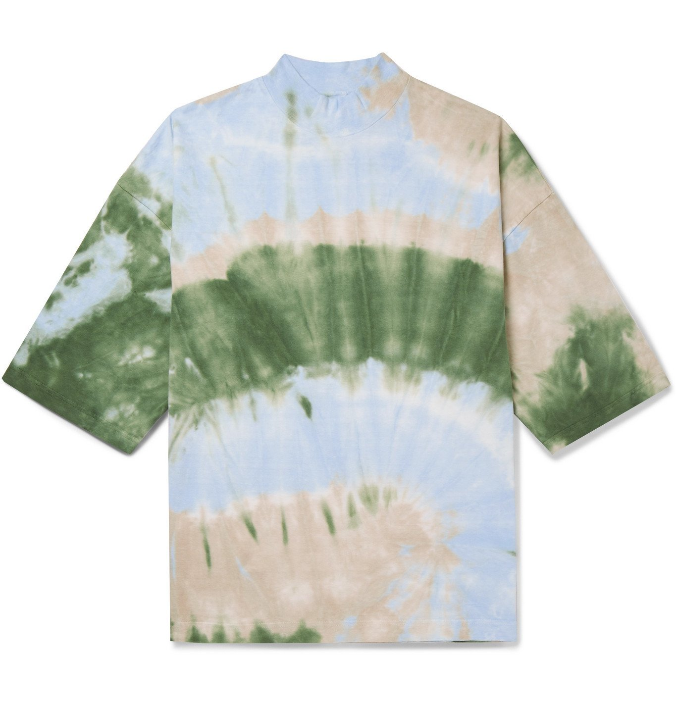 Photo: Sasquatchfabrix. - Tie-Dyed Cotton-Jersey Mock-Neck T-Shirt - Blue