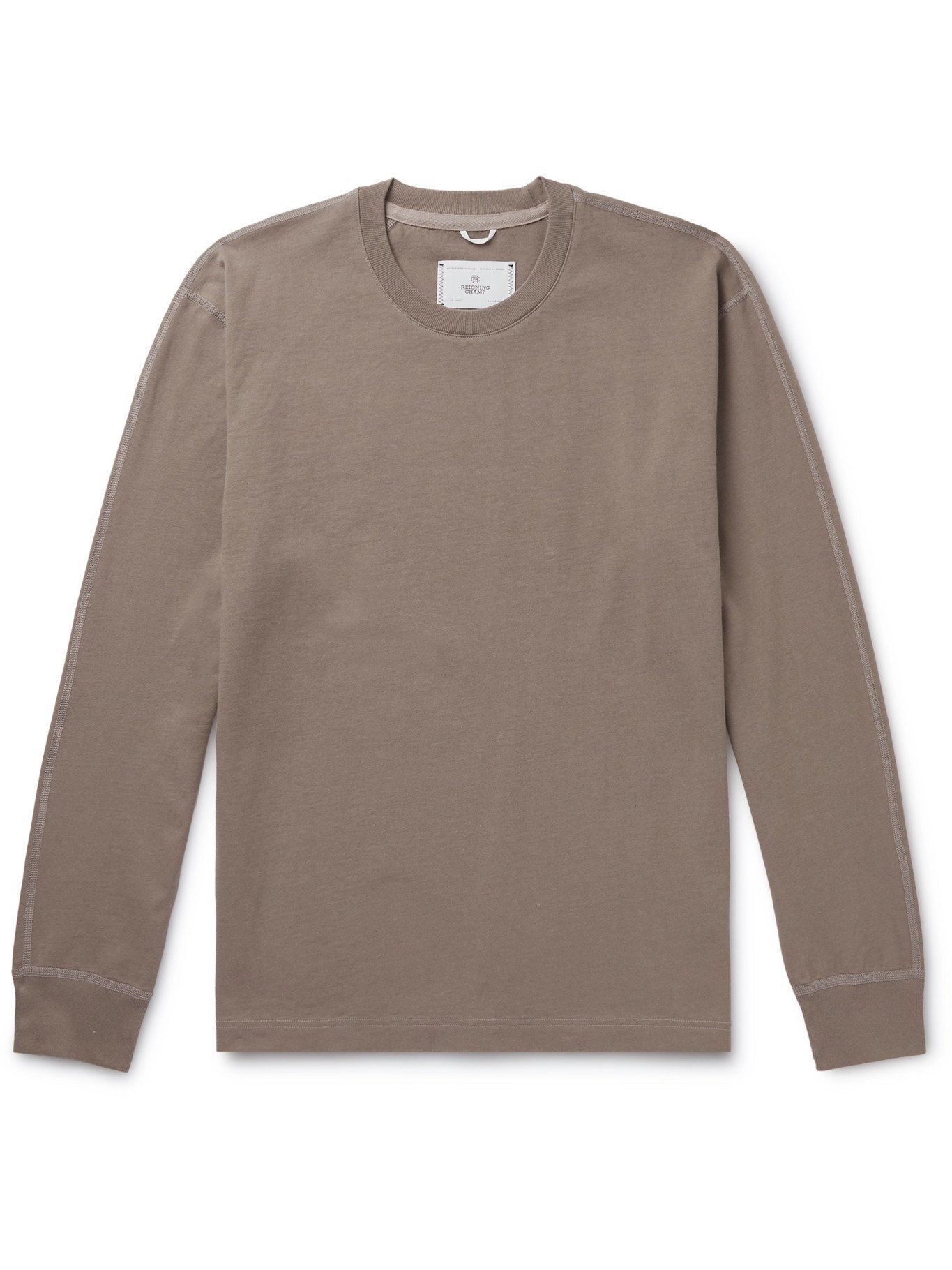 Photo: REIGNING CHAMP - Cotton-Jersey T-Shirt - Brown - S
