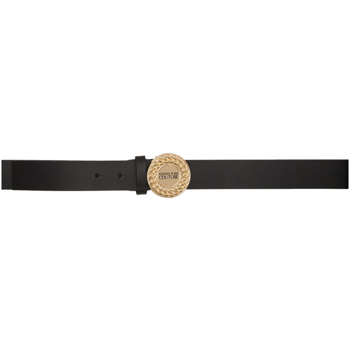 Versace Jeans Couture Black Chain Logo Belt