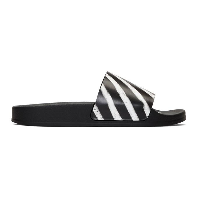 Photo: Off-White Black Spray Striped Slides