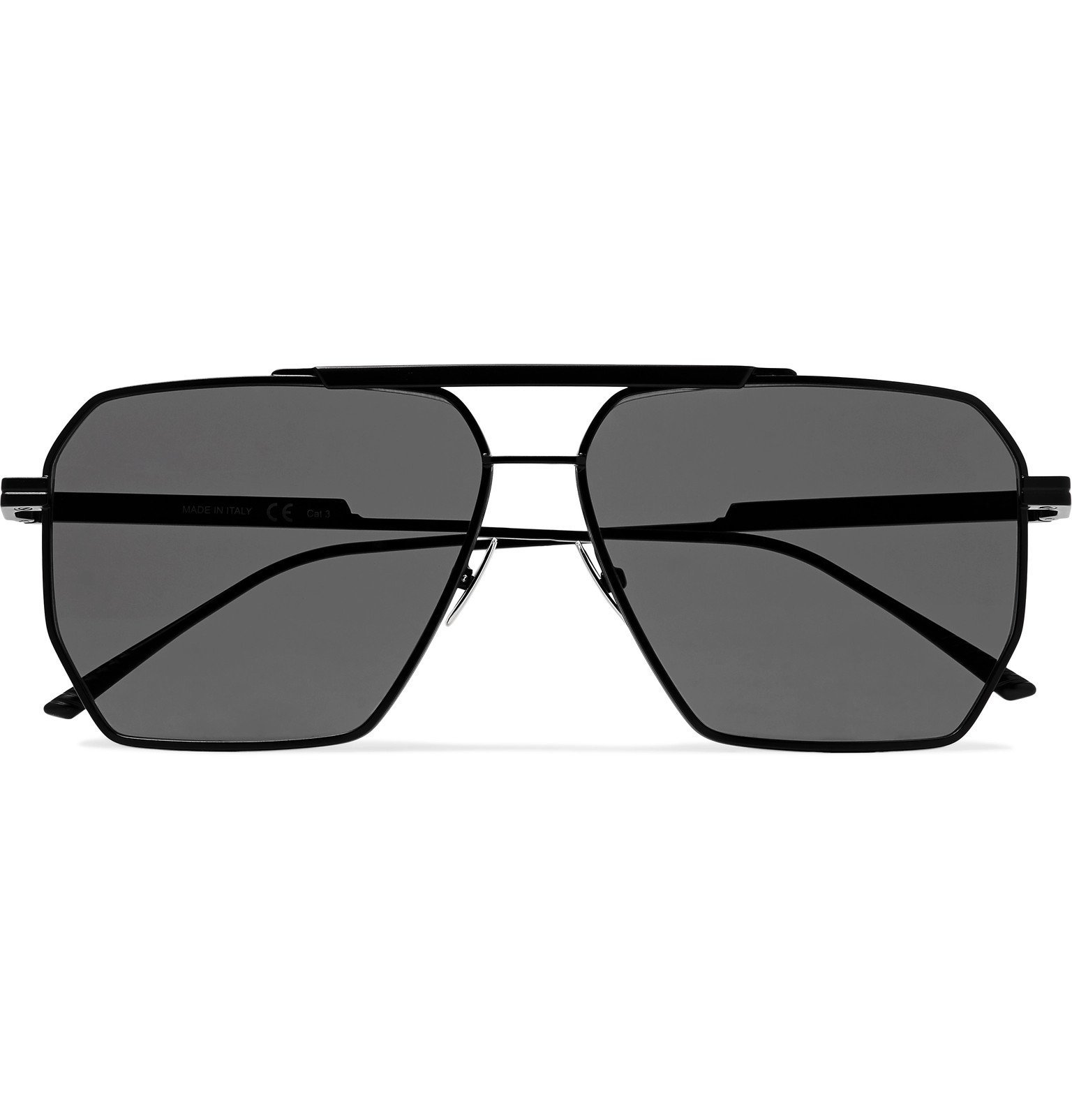 Photo: Bottega Veneta - Aviator-Style Metal Sunglasses - Black