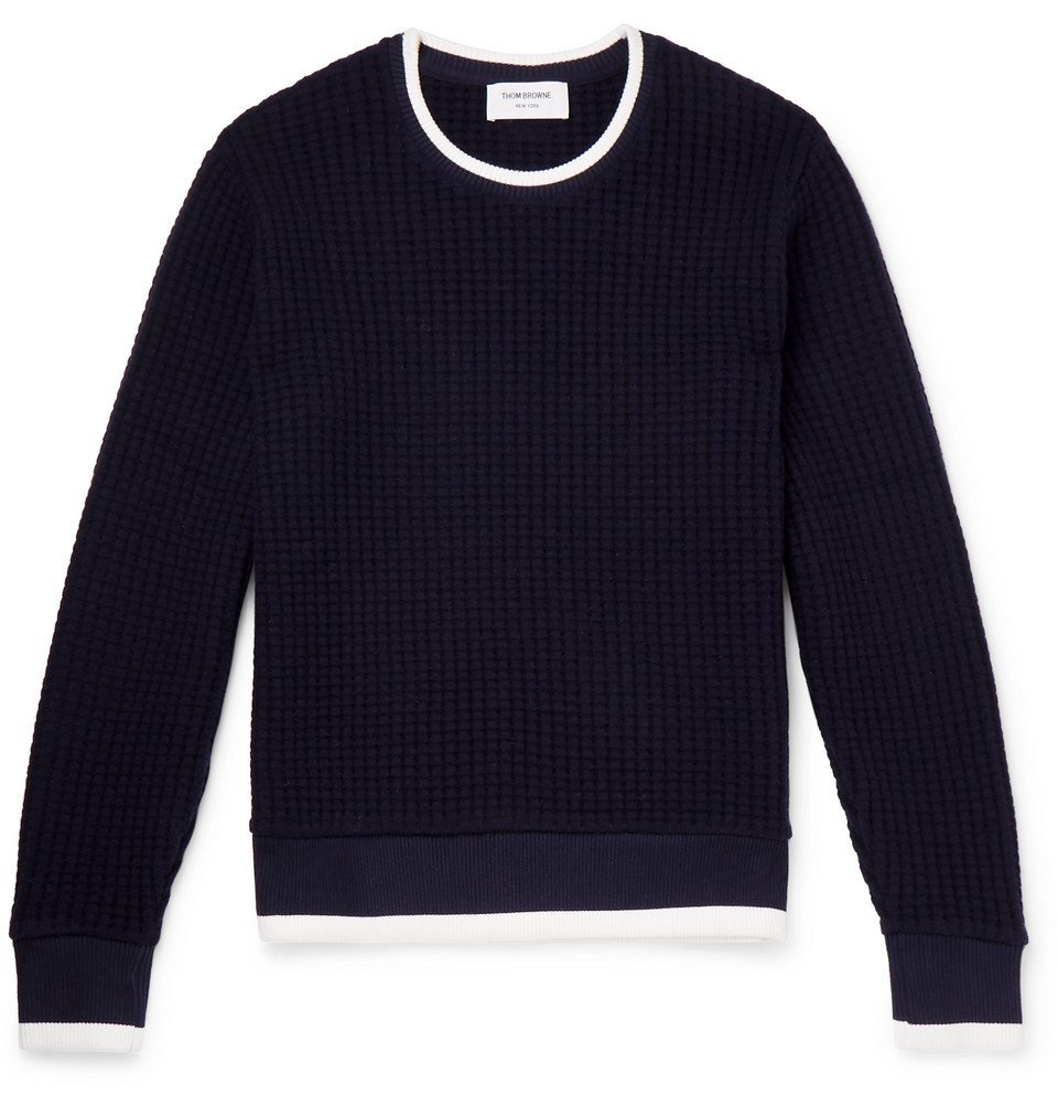Photo: Thom Browne - Contrast-Tipped Waffle-Knit Wool Sweater - Navy
