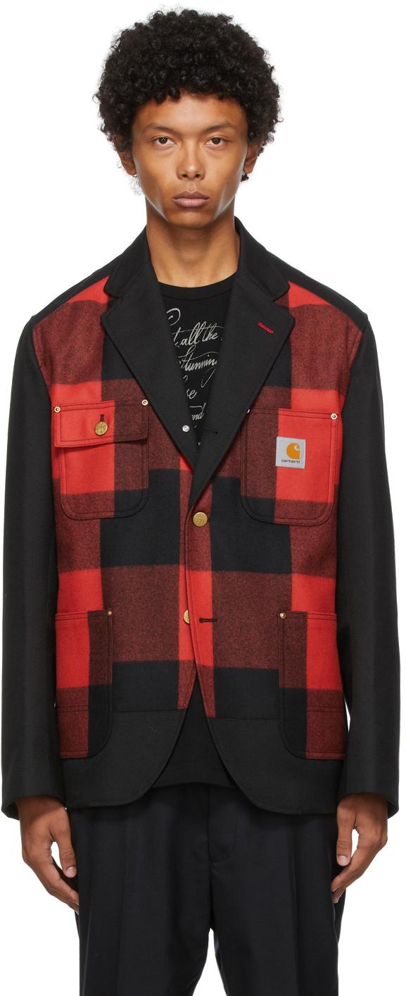 Photo: Junya Watanabe Black & Red Carhartt Edition Plaid Flannel Blazer