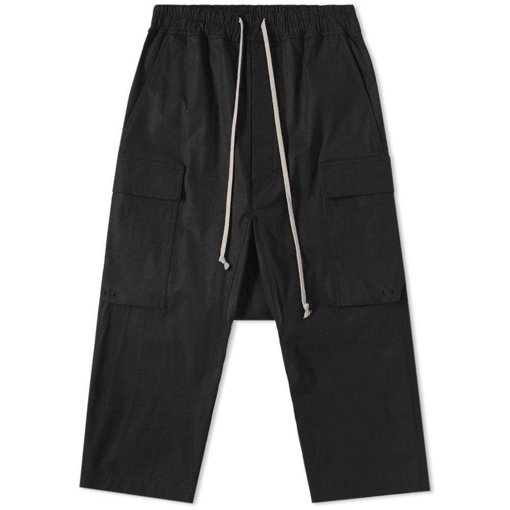 Photo: Rick Owens Drawstring Cropped Cargo Pant Black