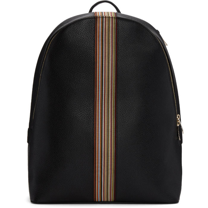 Photo: Paul Smith Black Leather Multistripe Backpack