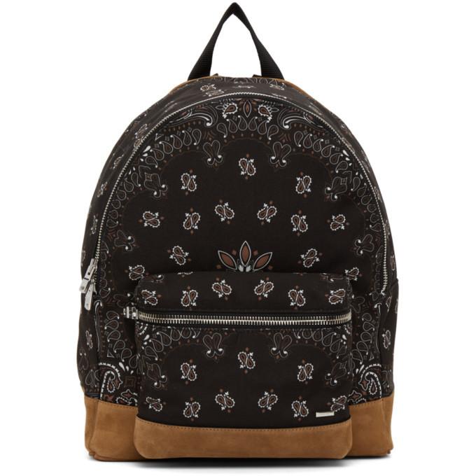 Photo: AMIRI Black Canvas and Suede Bandana Backpack