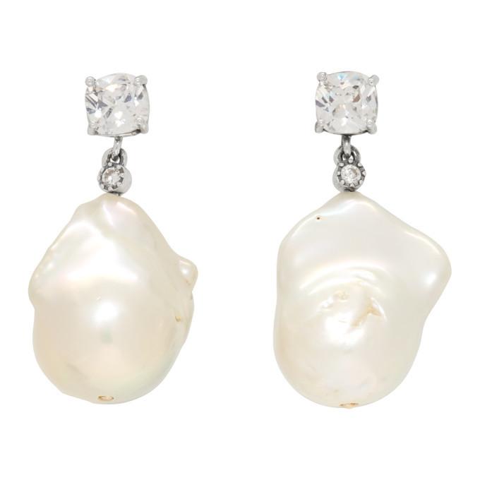 Photo: Bottega Veneta Silver Crystal Pearl Earrings