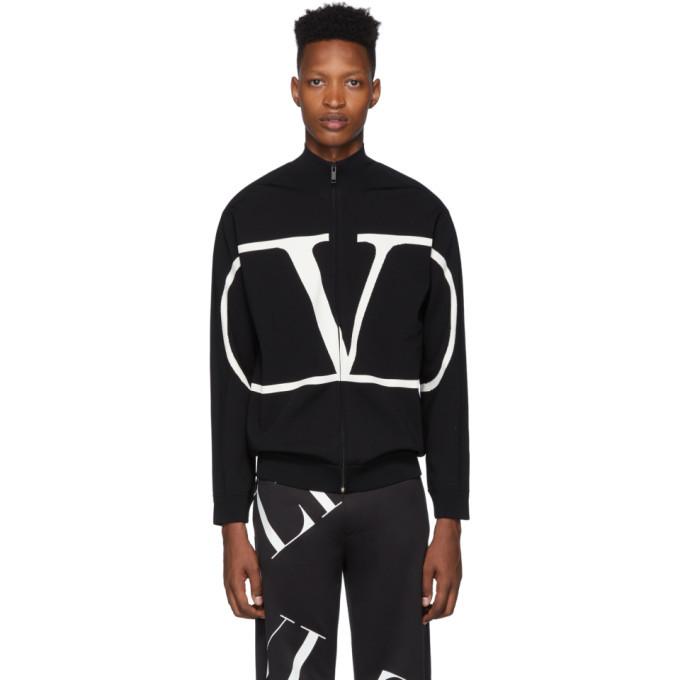 Photo: Valentino Black VLogo Zip-Up Sweater