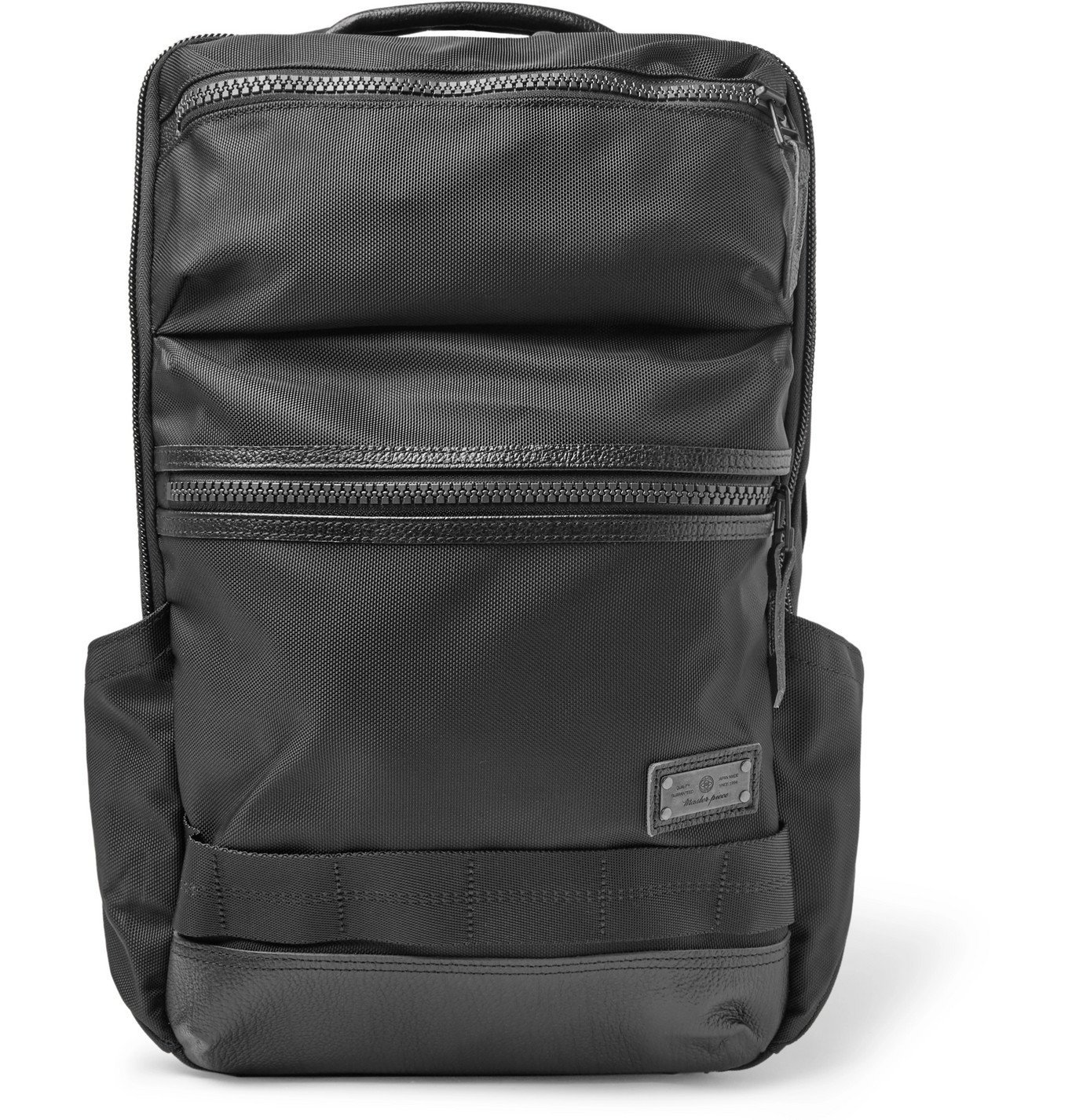 Photo: Master-Piece - Leather-Trimmed MASTERTEX-08 Backpack - Black