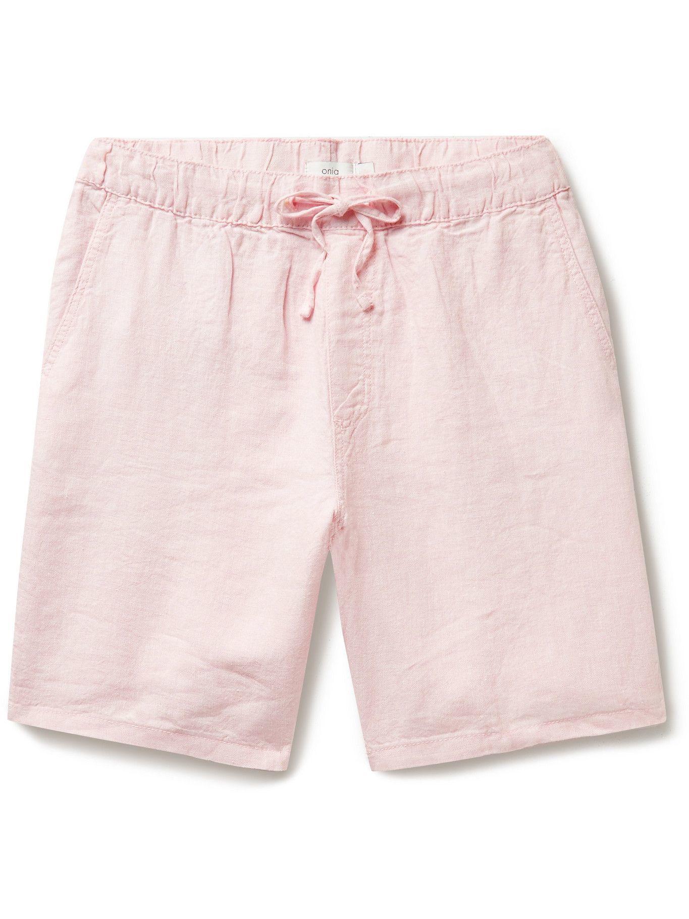 Photo: ONIA - Noah Slub Linen-Blend Drawstring Shorts - Pink