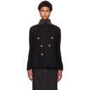Sacai Navy and Black Wool and Knit Blazer