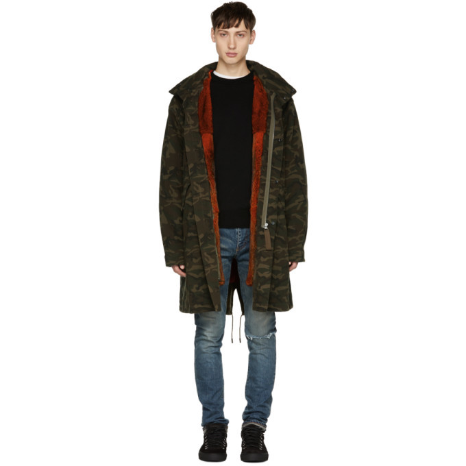 Photo: Yves Salomon Green Camo Fur-Lined Mid-Length Parka